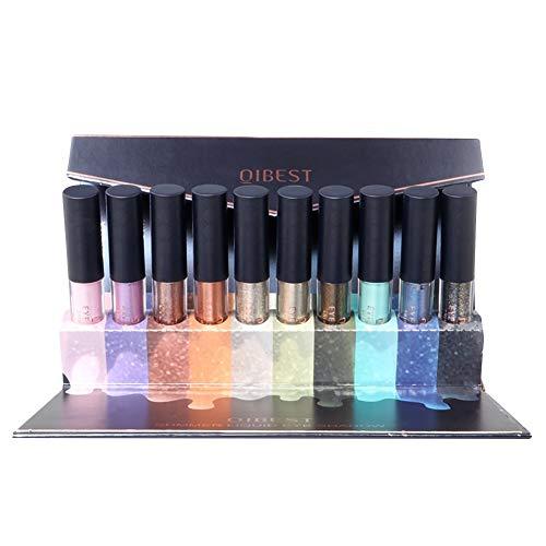 ColorfulLaVie 10 pièces/ensemble de fard à paupières liquide, Ombre à paupières liquide Glitter and Glow longue durée imperméable