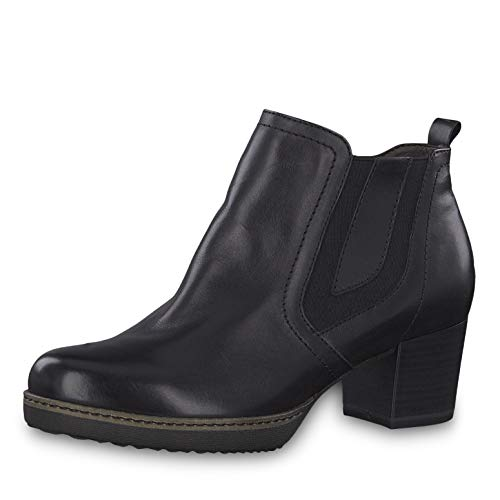 Tamaris Damen Stiefeletten 25016-23, Frauen Ankle Boots, Bootie knöchelhoch reißverschluss Frauen weibliche Lady Ladies,Black Leather,39 EU / 5.5 UK