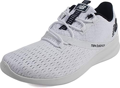 New Balance Men's District Run V1 CUSH + Sneaker, White, 7.5 Medium US