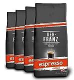 DER-FRANZ - Café espresso, granos enteros, 1000 g (paquete de 4)