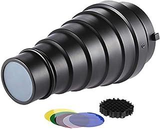 Docooler Metal Cónico de Snoot con Panal Cuadrícula 5pcs Color Juego de Filtro para Bowens Monte Estudio Strobe Monolight ...