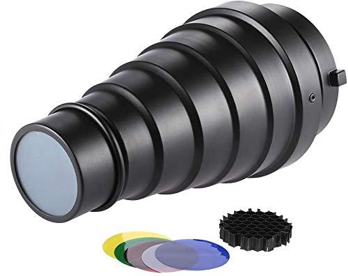Docooler Metal Cónico de Snoot con Panal Cuadrícula 5pcs Color Juego de Filtro para Bowens Monte Estudio Strobe Monolight La Fotografía con Flash