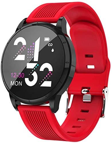 Reloj inteligente para mujer, de cristal templado, monitor de actividad y frecuencia cardíaca, para hombres y mujeres, color rojo