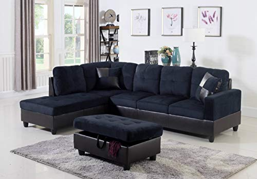 Ainehome Couch Sectional for Living Room 3 Piece Furniture Set Microfiber & Faux Leather Modern L-Shaped Couch Left Hand Facing Sofa with Chaise Lounge & Storage Ottoman (Midnight Blue)