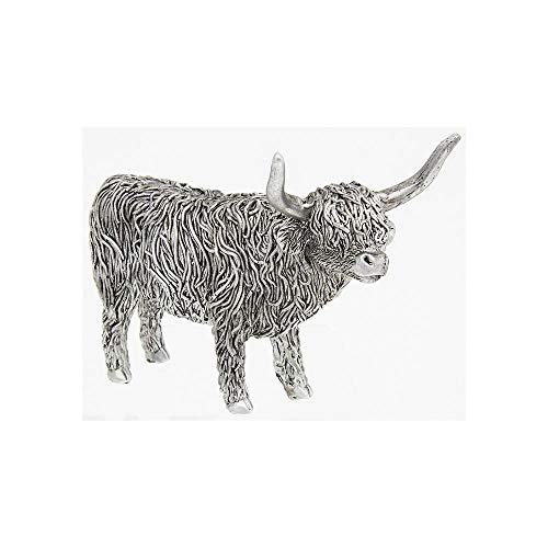 Silver Highland Coo Standing Ornament