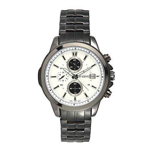Armbanduhr Casual Outdoor 3 Auge 6-Pin-Sportuhr Business-Kalender wasserdichte Quarzuhr, Schwarze Schale Weiß