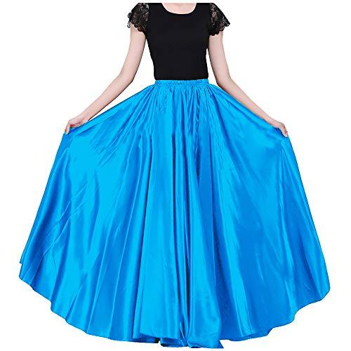 Ladies 90cm Satin Maxi Midi Skirt Long Dress Elastic Waist for Belly...