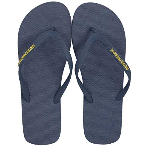 EMPORIO ARMANI Hombre Sandalias de Baño - Flip Flops (45 EU, Azul)