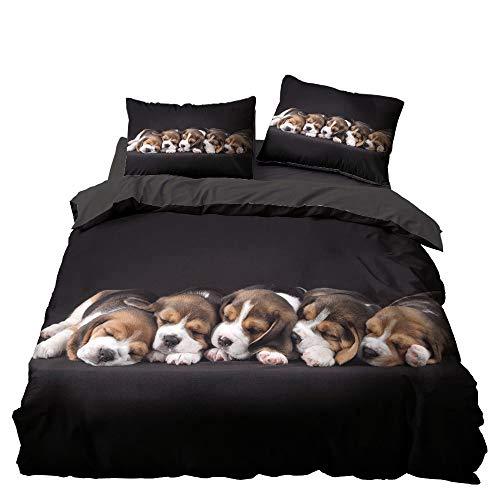 Bettbezug-Set für Kinder, mit Tiermotiv, 3D-Bettwäsche-Set, inklusive Schäferhund, Bulldogge, Hound Hund, Welpe, Bettbezug mit passenden Kissenbezügen (U, 135 x 200)
