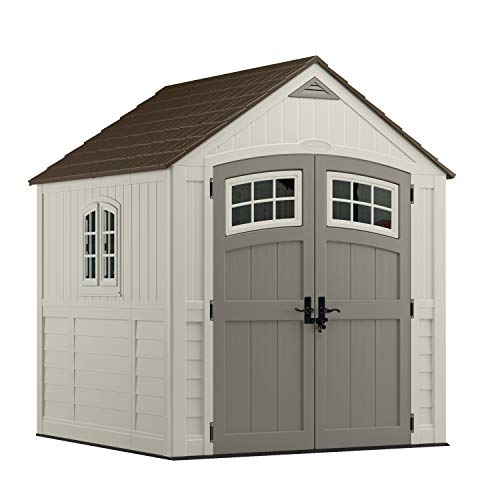 Suncast 7 x 7 Cascade Shed Outdoor Storage for Backyard Tools and Accessories All-Weather Resin Material, Transom Windows and Shingle Style Roof, Vanilla and Stoney