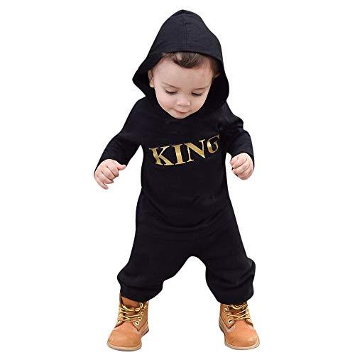 Kobay Neugeborenes Baby Boy mit Kapuze Brief Strampler Jumpsuit Playsuit Kleidung Outfits(0-6M,Schwarz-1)