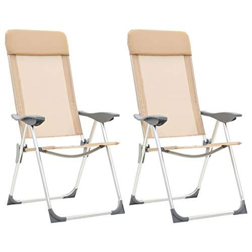 Festnight Fauteuil de Jardin Pliant en Aluminium Chaise de Relaxation Chaise Longue de Jardin Chaises de Camping Pliables 2 pcs Crème