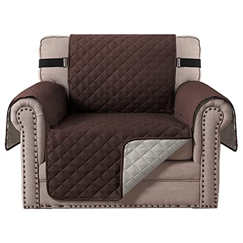 H.VERSAILTEX Reversible Chair Cover for Dogs Pet Sofa Protector Chair Slipcover 2' Thick Straps Slip-Resistant Chair Protector Soft Quilted Seat Width Up to 21' (Chair, Brown/Beige)