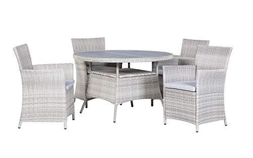 BackYard Furniture Siena Maintenance-Free Rattan 4 Seater Round Garden Dining Set with Cushions, Natural, 120x120x75 cm