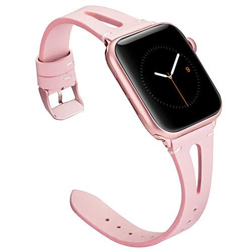 Wearlizer für Apple Watch 38mm Armband Leder, Echtleder X Band für iWatch Straps Ersatz Lederarmband 38mm 40mm für Apple Watch Series 4 3 2 1 - Rosa