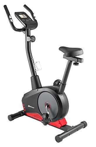 Hop-Sport Spark Heimtrainer Fahrrad - Fitnessgerät für Zuhause mit Pulssensoren & Computer, 8 Widerstandsstufen, Schwungmasse 9 kg - Fitnessbike für EIN max. Nutzergewicht von 120kg Rot