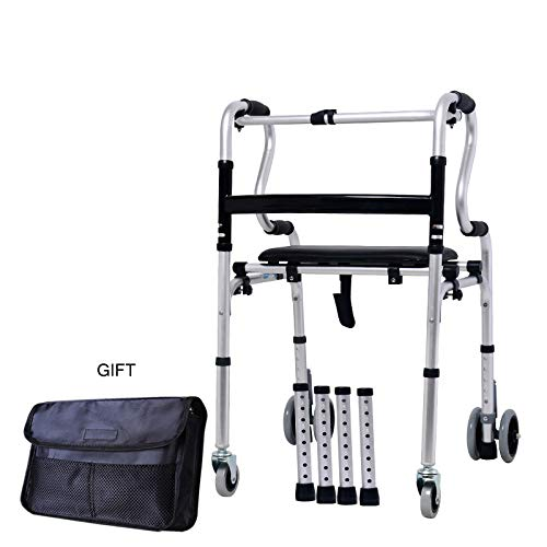 TYXHZL Walking frame walker gehandicapte walker kan zitten massage medische apparatuur wandelstok aluminium legering zes wiel dual purpose,B