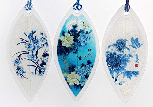 Lucore Home Leaf Bookmarks - Blue Flowers Asian Painting Lucky Charm, Ornament, Hanging & Wall Decor, Art Decoration - 3 Pcs, Made of Real Leaves