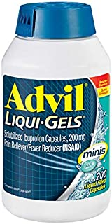 Advil Liqui-Gels Minis Pain Reliever and Fever Reducer, Ibuprofen 200mg, 200 Count, Fast Pain Relief