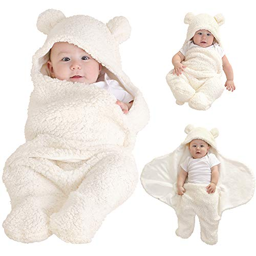 LifeTree Soft Newborn Baby Blankets Neutral Infant Soft Baby Plush Blankets for Baby Boys amp Girls Cute Baby Hooded Swaddle Blanket Sleeping Bag Swaddle Wrap