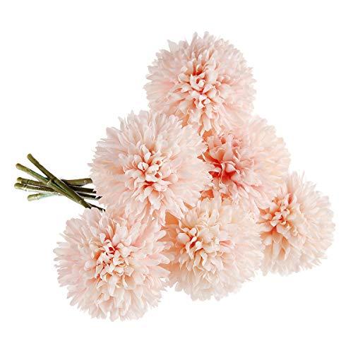 CQURE Unechte Blumen,Künstliche Deko Blumen Gefälschte Blumen Künstliche Hortensien 6 Köpfe Braut Hochzeitsblumenstrauß für Haus Garten Party Blumenschmuck (Rosa Champagner)