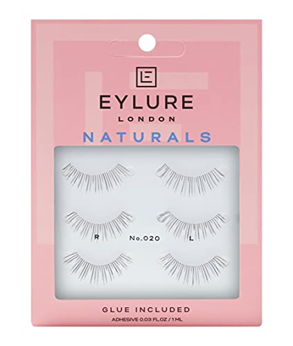 Eylure Naturals False Eyelashes Multipack, Style No. 020 Black , Reusable, Adhesive Included, 3 Pair