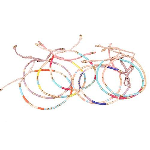 KELITCH Armband MischFarbe Rocailles Perlen Zart Schnur Freundschaftsarmbänder für Mädchen Damen - 8 Stück #26