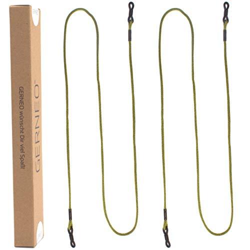 GERNEO® - DAS ORIGINAL - Premium Brillenband & Brillenkordel Unisex für Lesebrille & Sonnenbrille - schwarze Halter - grün - extra lang - 2er Pack