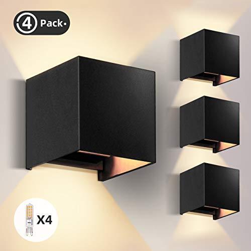OOWOLF Wandlampen Innen, [4 Stück] Wandleuchte Innen Wandlampe 3.8W 3000K IP65 Wasserdicht mit G9 Glühbirne, Wandleuchte Innen für Wohnzimmer, Balkon, Schwarz