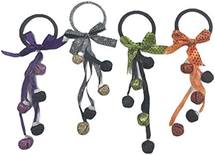 Halloween Decoration Door Knob Greeter Hanger Jingle Bells Ornaments 2 Pack Glittery Bows Silky product image