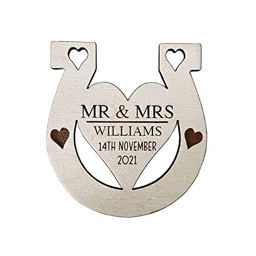 stika.co Personalised Lucky Horse Shoe, Engraved Wedding Gift for Bride and Groom, Custom Decor, Keepsake