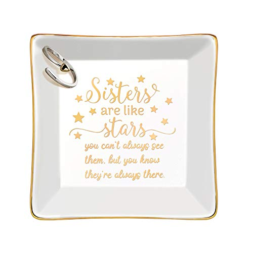 Joycuff Sister Gifts for Women-Sister Trinket Dish Decorative Ring Dish Ceramic Jewelry Tray Home Decor-Sisters are Like Stars, You Don't Always See Them But You Know They are Always There