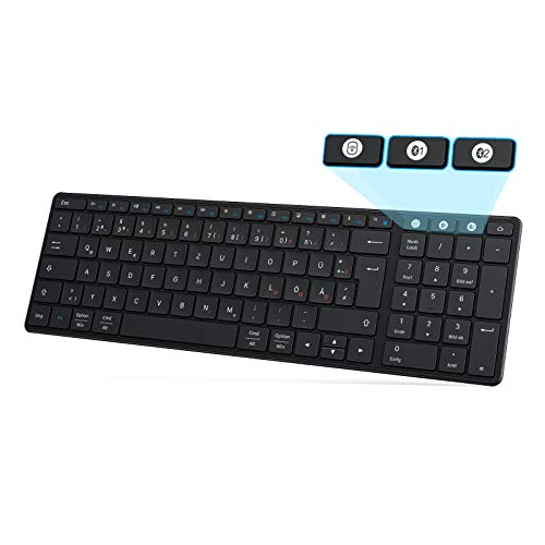 Funktastatur Bluetooth, Seenda Kabellose Tastatur Kompatibel mit Mac OS, 3 Kanäle (2.4G+BT4.0+BT4.0) Wiederaufladbar, QWERTZ Deutsches Layout für Tablet/Windows/Android/Microsoft, Schwarz