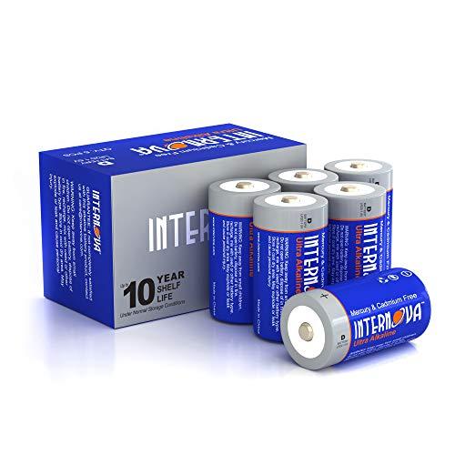 Internova Ultra Alkaline D Batteries, LR20 1.5V Cell High Performance, 6 Pack