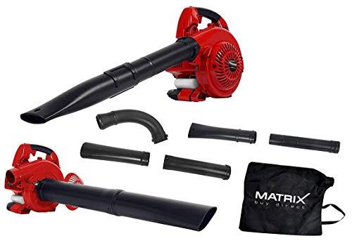 Matrix 320200240 GLB 26 Laubsauger Benzin, 8.500 Umdrehungen, 8 Kubikmeter pro Minute, Schredderfunktion, Anti-Vibrations-System, 40 Liter Fangsack, Sicherheitsschalter