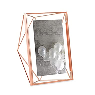 Umbra Prisma 5 x 7 Picture Frame – Floating Wall or Desk Photo Display for Pictures, Art, Illustrations, Graphic Text & More, Metal, Copper