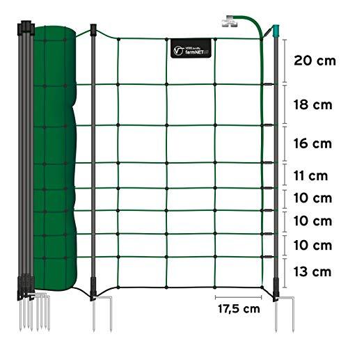 VOSS.farming Premium Elektronetz 108cm farmNET 50m Schafzaun Ziegennetz Pfähle 2 Spitzen grün - 3