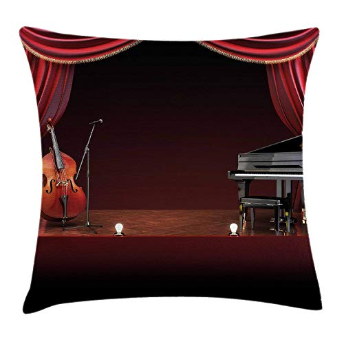 Klotr Housses De Coussins,Taies d'oreiller Musical Theatre Home Decor Cushion Cover, Orchestra Symphony Theme Stage Curtains Piano Cello,Pillowcases 18x18 inch, Burgundy Brown Black