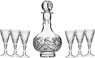 Set of 7 16-Oz Hand Made Vintage Cut Crystal Liquor Decanter Set with 6 Sherry Glasses, Russian Crystal Vodka Carafe, Old-fashioned Glassware