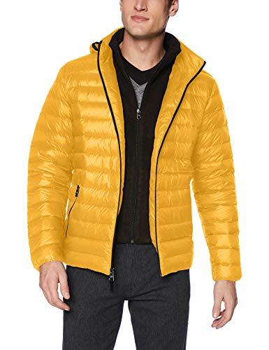 Calvin Klein Men's Packable Down Hoody Jacket, Island Lemon, Large