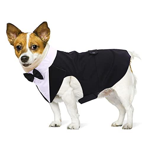 PUMYPOREITY Ropa para Perros Pajarita Esmoquin Traje Smoking Perro Mascota Boda Formal Traje Elegante con Bandana Retirable Camisa de Esmoquin Formal para Perros Pequeños Medianos Grandes(Negro,M)