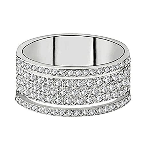 minjiSF Anillo ancho de diamante para mujer, moderno, de alta calidad, con personalidad, joya clásica, anillo de pedida, anillo de compromiso, anillo de boda, regalo (blanco 5, 5)