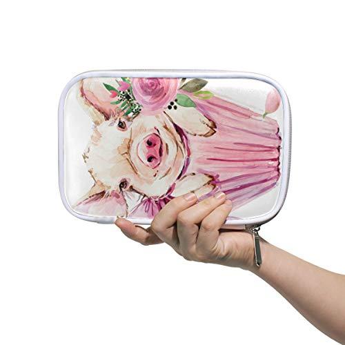 Mr.XZY Lindo cerdo bolsa lápiz estuche para niño para niña patrón de acuarela viaje pequeña bolsa de cosméticos pasaporte cartera con cremallera para mujeres 2011936