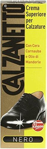 Calzanetto, Lucido Calzature In Tubetto, con Cere Pregiate, Facile Applicazione, alto Nutrimento, Lucentezza, Idro Repellente, Colore Nero, 50 ml