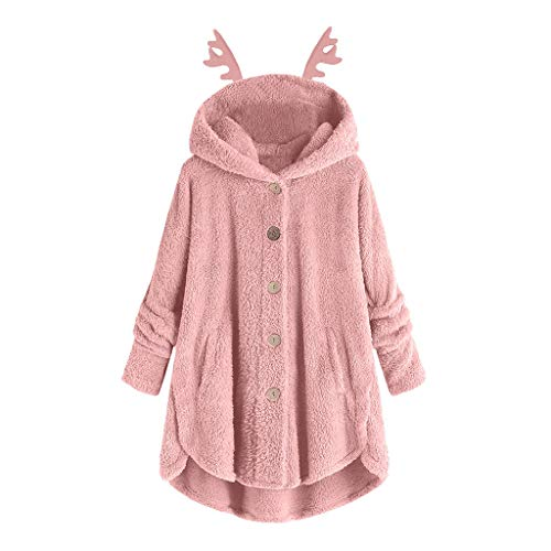 ReooLy Frauen-Knopf Mantel solid solid Farbe Geweih Plüschmantel Jacke mit Kapuze Pullover lose Pullover Größe(Rosa/Small)