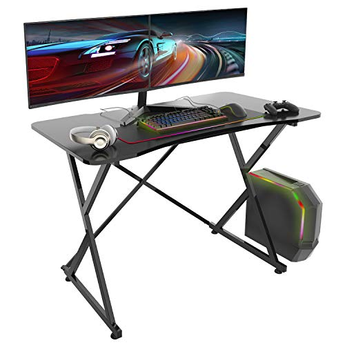 Gaming Desk, 43 Inch PC Computer Gaming Desk Ergonomic Home Office Desk Table Gamer Workstation Gaming Table