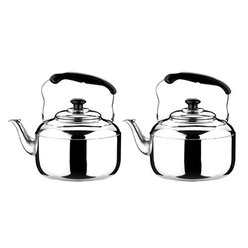 Non-brand 2X Acero Inoxidable Silbido Tetera Café Cocina Estufa de Inducción 5L