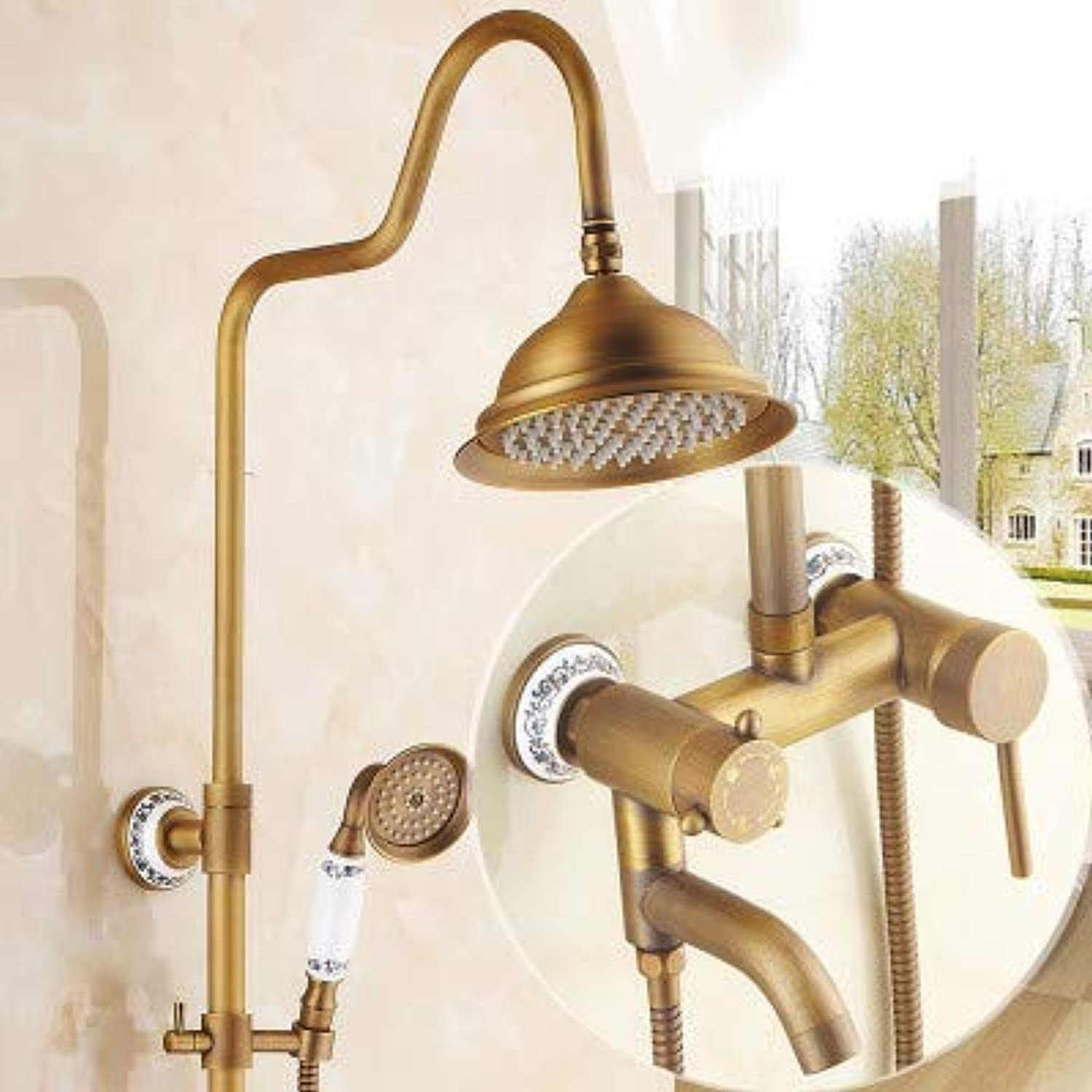 Hlluya Professional Sink Mixer Tap Kitchen Faucet All copper antique shower sprinkler package retro shower hot cold water faucet bath lifts sprinklers shower,