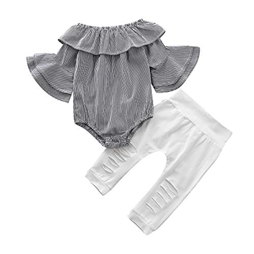 SANMIO Toddler Baby Girl Clothes Fall Sets, Newborn Ruffle Romper Jumpsuit Tops Floral + Halen Pants Outfit Set Grey