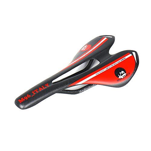 MH96_Italy Sillín de Bicicleta de Fibra de Carbono 3K para Bicicleta de Carreras y MTB antipróstata, Super Ligero, 100 g +/-, Rojo Mate